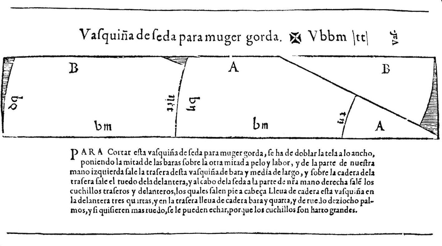 """Silk kirtle for a fat woman, Libro de Geometria, Práctica y Traça (1580), Juan de Alcega."""