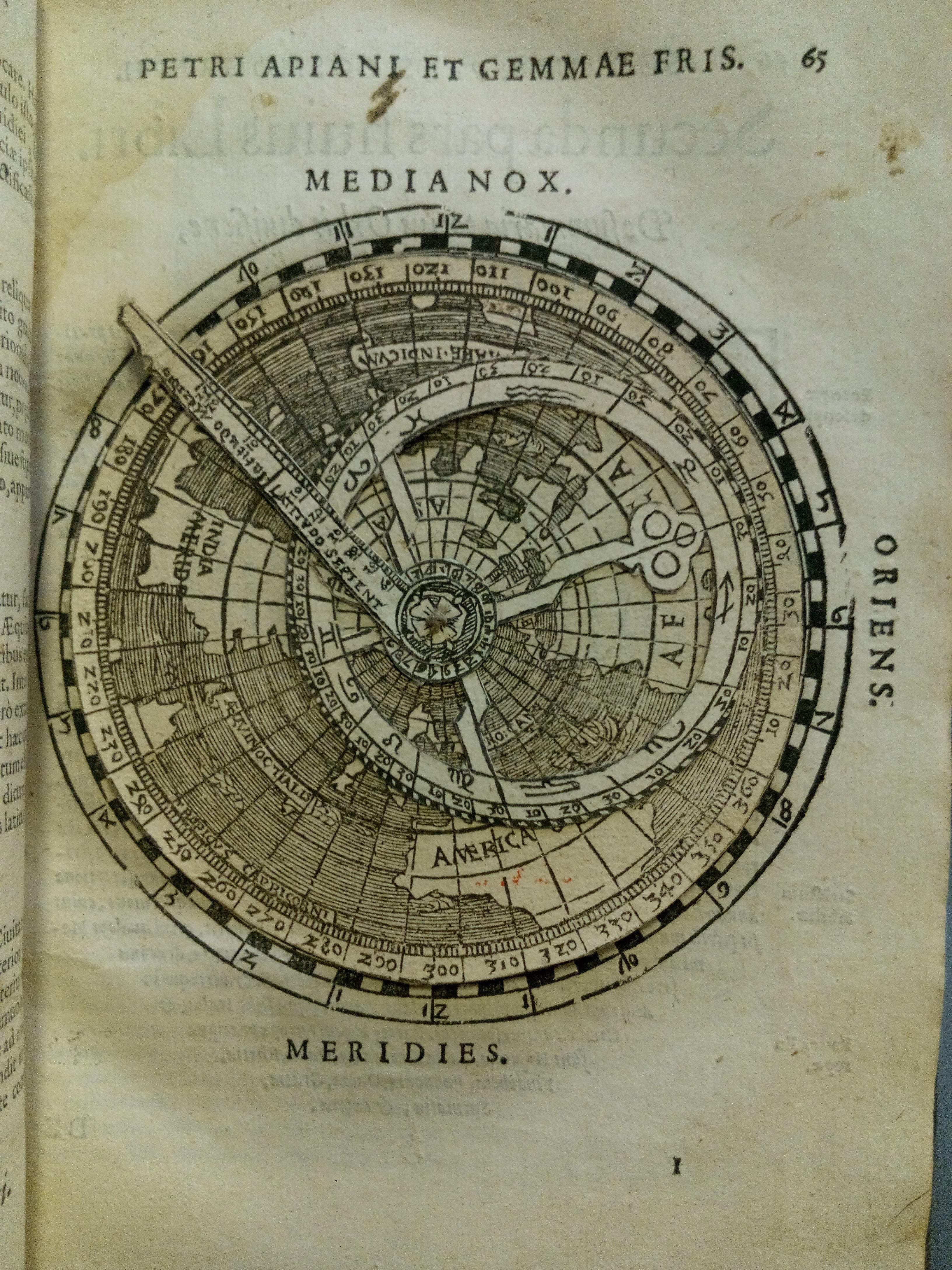 """Peter Apian, Cosmographia, sive descriptio universi orbis, Petri Apiani & Gemmae Frisij (Antwerp: Johannes Withagius, 1584), p. 65. University of St Andrews Library, TypNAn.B84BA"""
