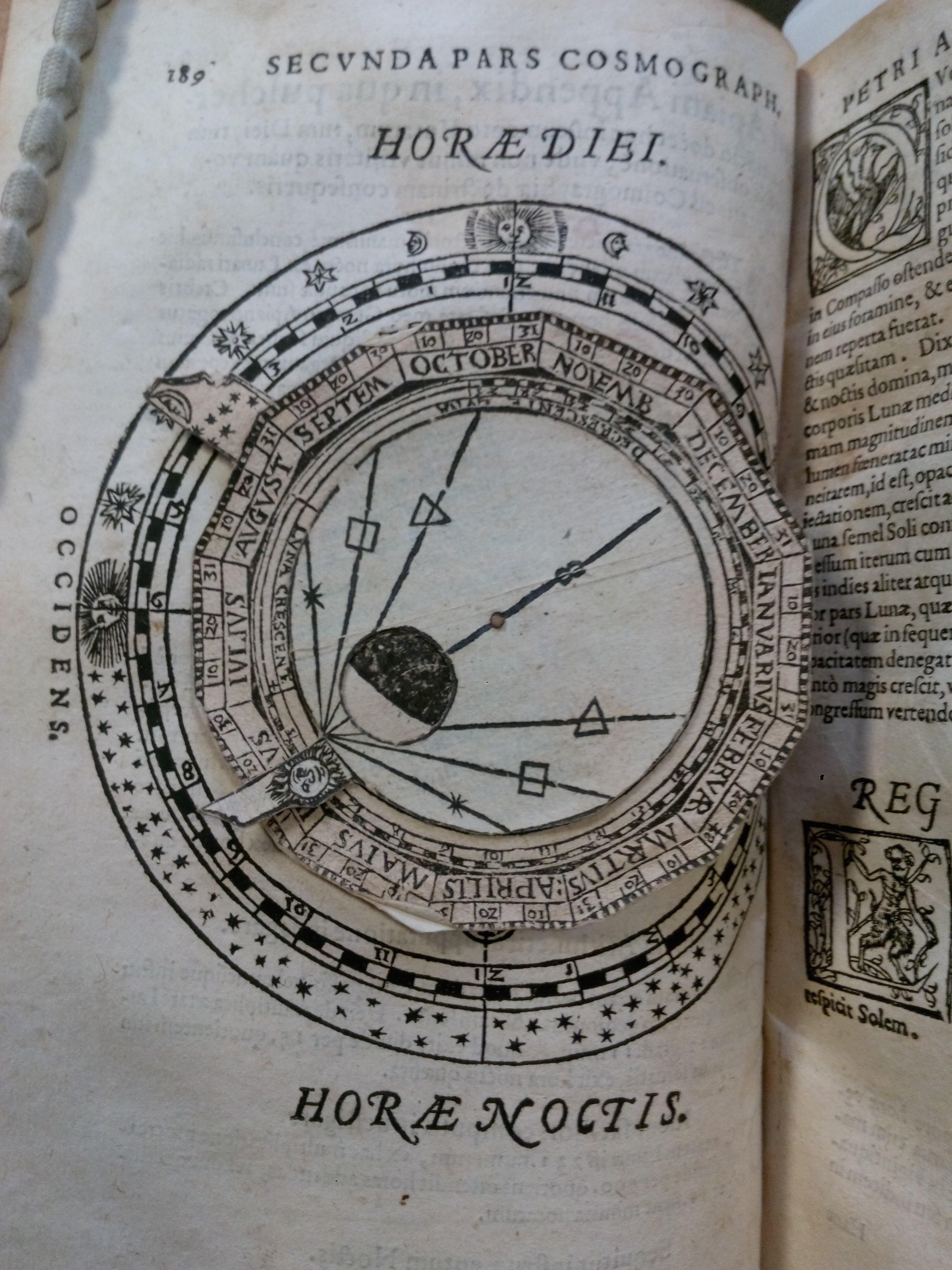 """Peter Apian, Cosmographia, sive descriptio universi orbis, Petri Apiani & Gemmae Frisij (Antwerp: Johannes Withagius, 1584), p. 189. University of St Andrews Library, TypNAn.B84BA"""