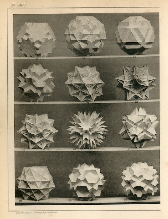 """""""Polyhedral models in the book Polygons and Polyhedra: Theory and History (Vielecke und Vielflache: Theorie und Geschichte) by Max Brückner, 1900."""""""