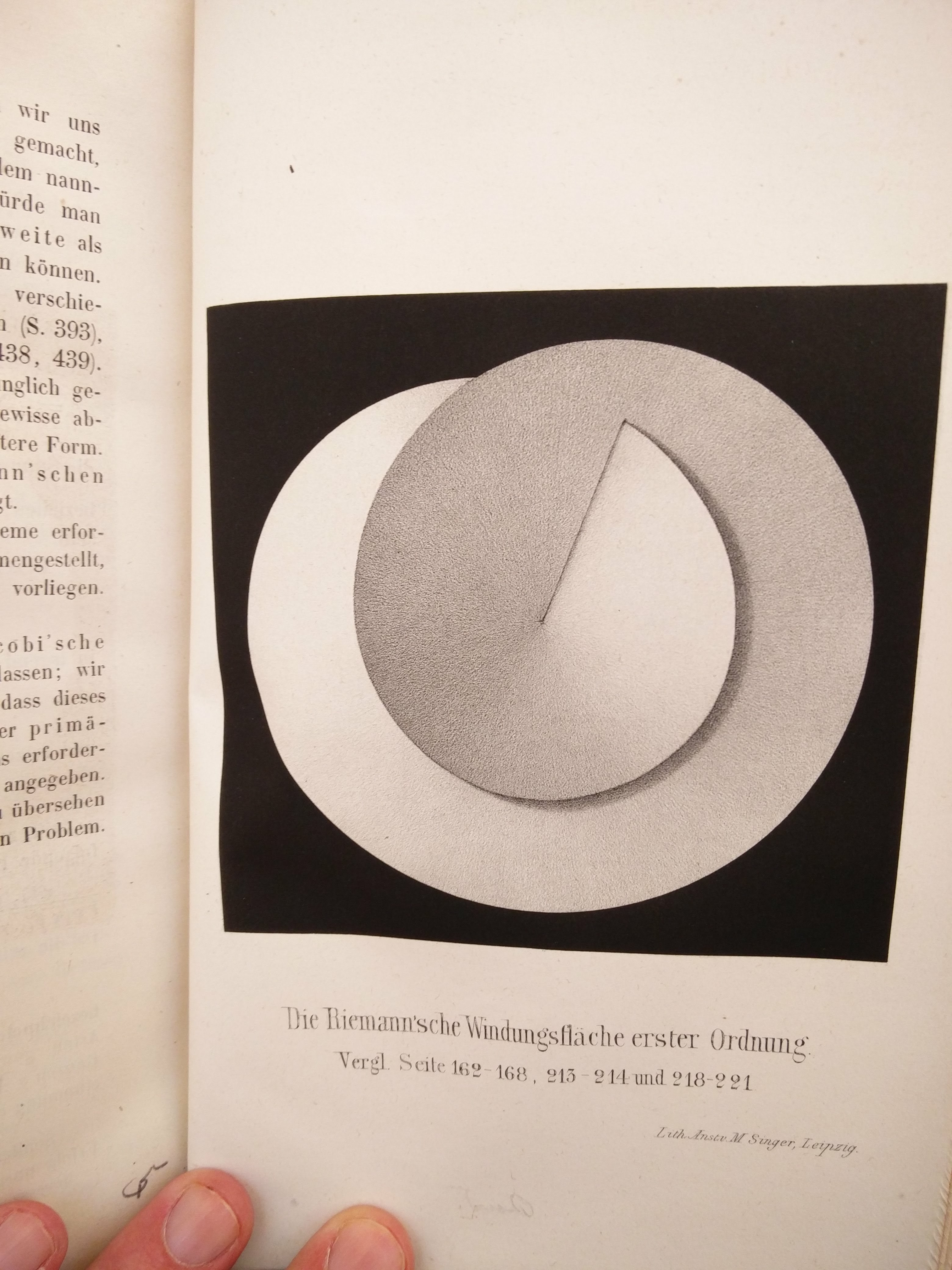 """Daryl's favourite find of the week, the last leaf of Neumann's work on Bernhard Reimann's theories (1865, Leipzig – Bodleian RSL 1822 d.101) being a lithograph of an artist's depiction of a Reimann Surface – almost popping off the page it is executed so well!"""