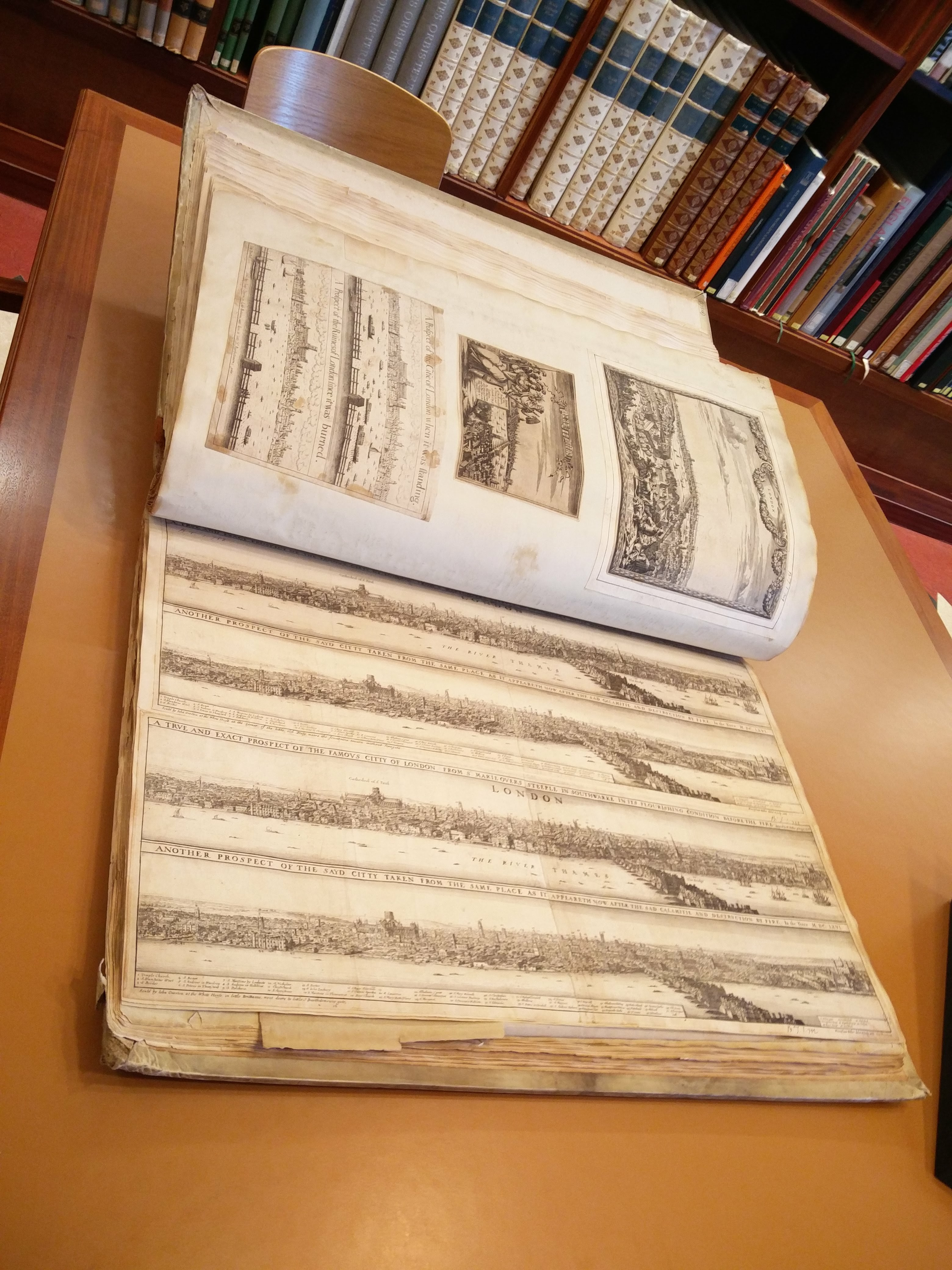 """We like big books! This commonplace book of maps and views of London (17th-18th centuries – Bodleian Gough Maps 21) was definitely the heaviest tome consulted last week!"""