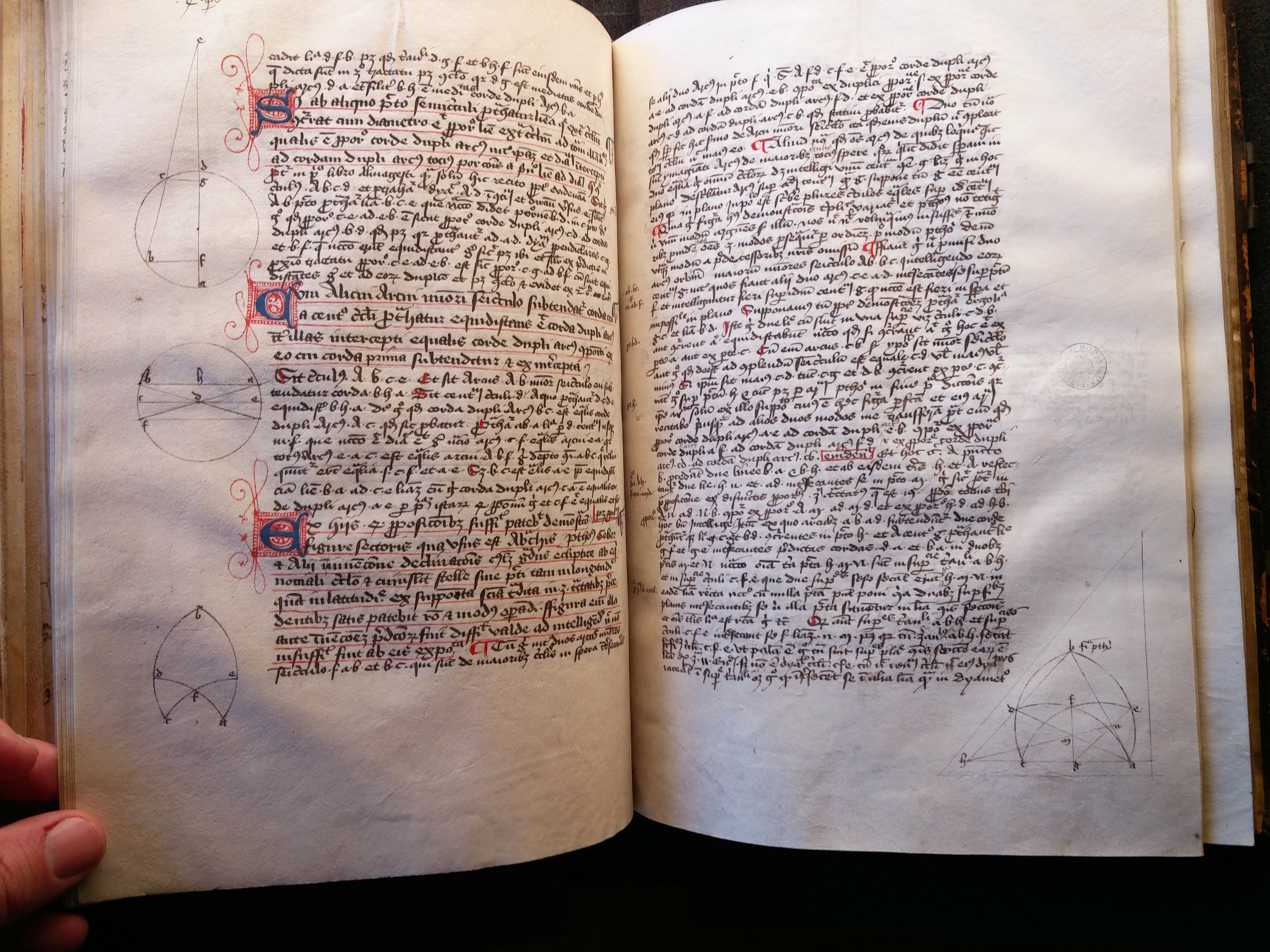 """A 14th century copy of Richard of Wallingford's Quadripartitum once owned by Elizabethan mathematician John Dee (Bodleian MS Digby 178)"""