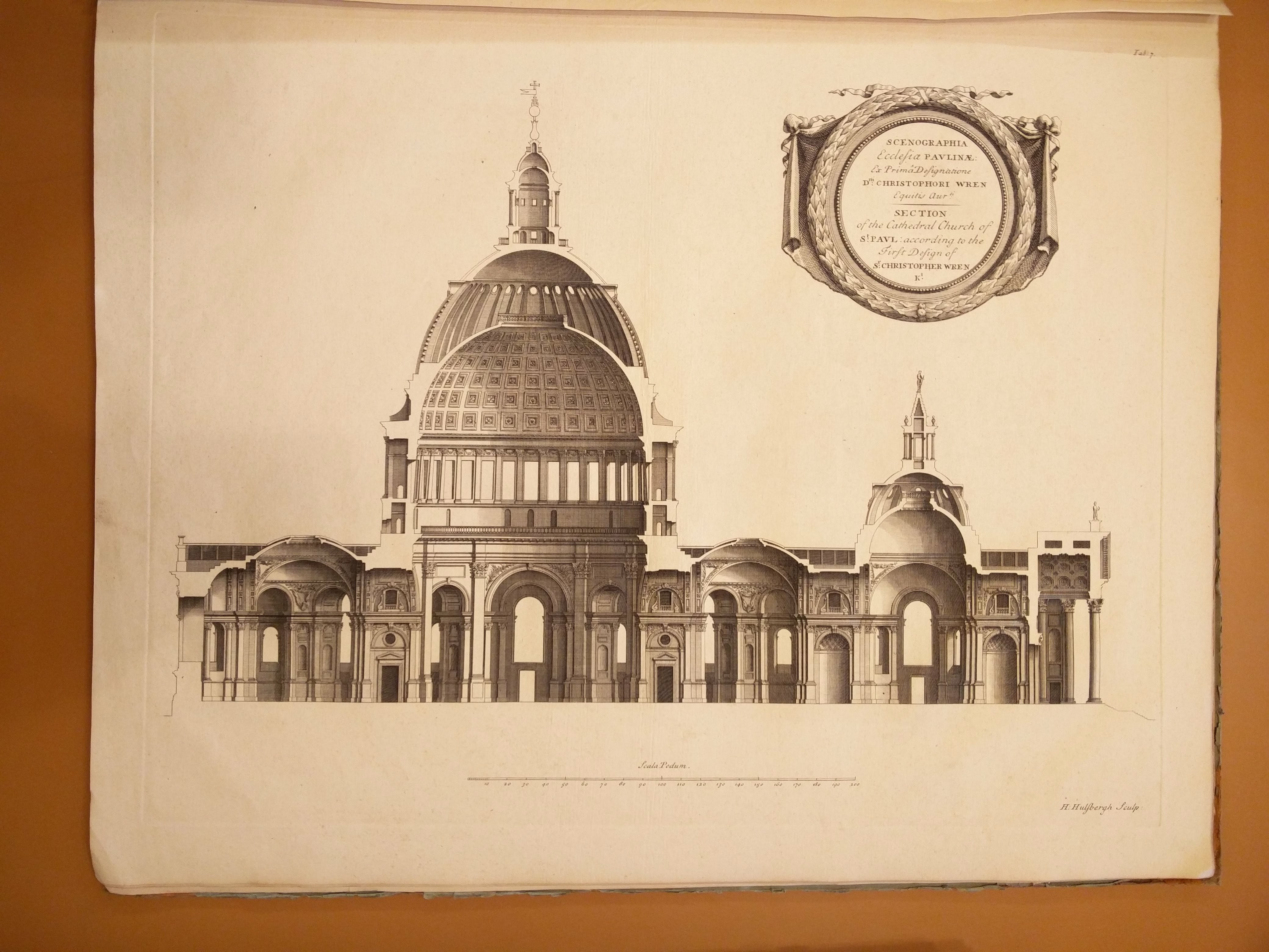 """Cross-section of St Paul's Cathedral from a retrospective of Sir Christopher Wren's work (1726, London – Bodleian Radcl. a. 16)"""