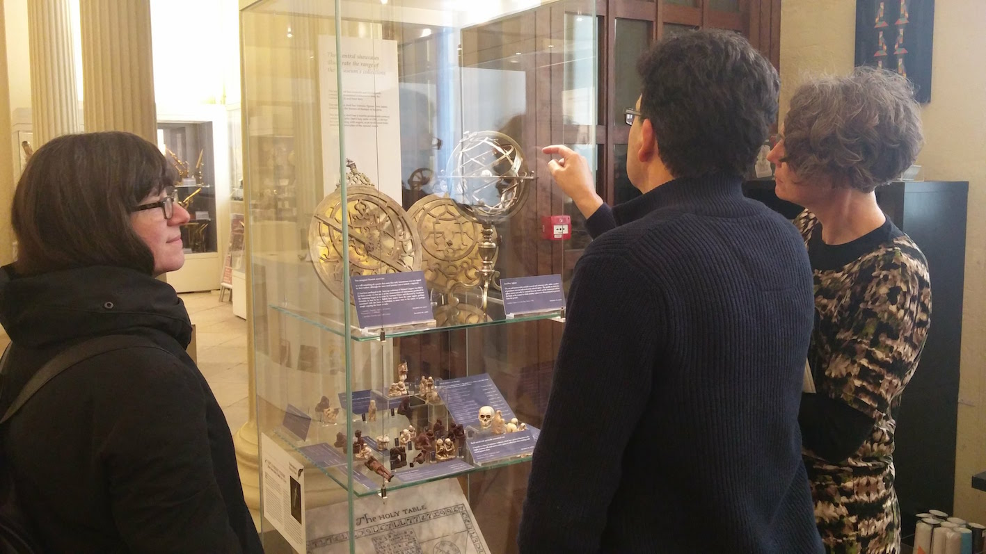 Stephen Johnston presenting some relevant items to Madeline Slaven (right) and Laura Moretti (left) at the Museum of the History of Science.