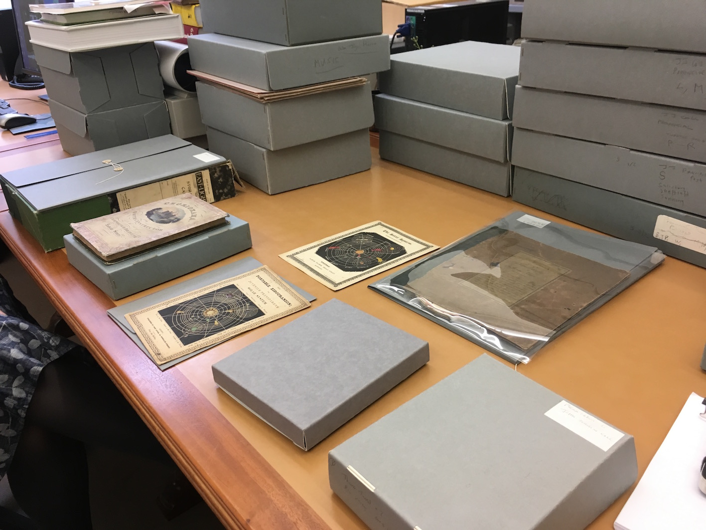 The selection of items from the John Johnson Collection of Printed Ephimeral that Julie Anne Lambert showed to Daryl and Laura.