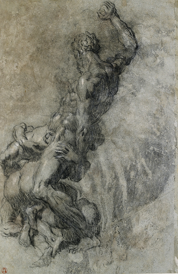 """Tintoretto, Samsom slaying the Philistine, after Michelangelo, seen from the side"""