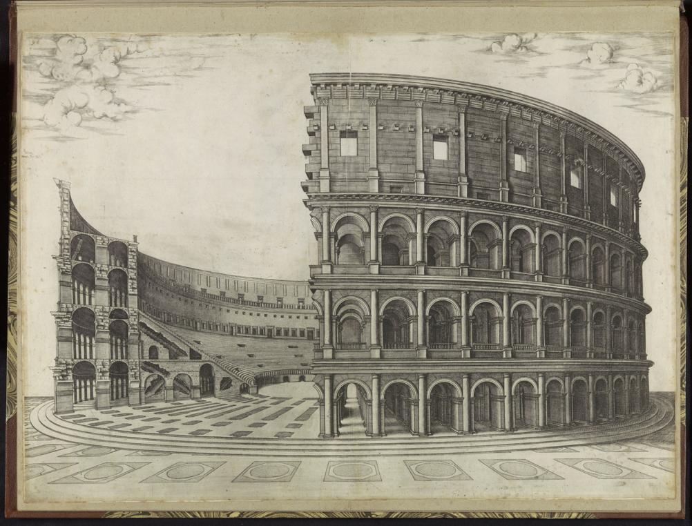 """""""Nicolas Beatrizet, Colosseum te Rome from Speculum Romanae Magnificentiae, 1570s. Amsterdam, Rijksmuseum, RP-P-2016-345-68."""""""