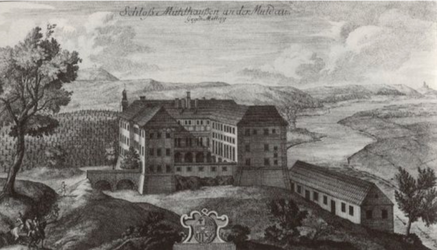 """The Earliest Representation of Nelahozeves Castle, a 1726 Etching with perspectival errors."""
