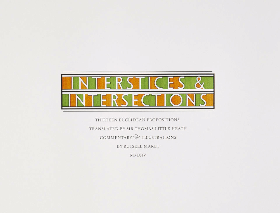 *Interstices & Intersections or, An Autodidact Comprehends a Cube*, 2014. Titlepage""