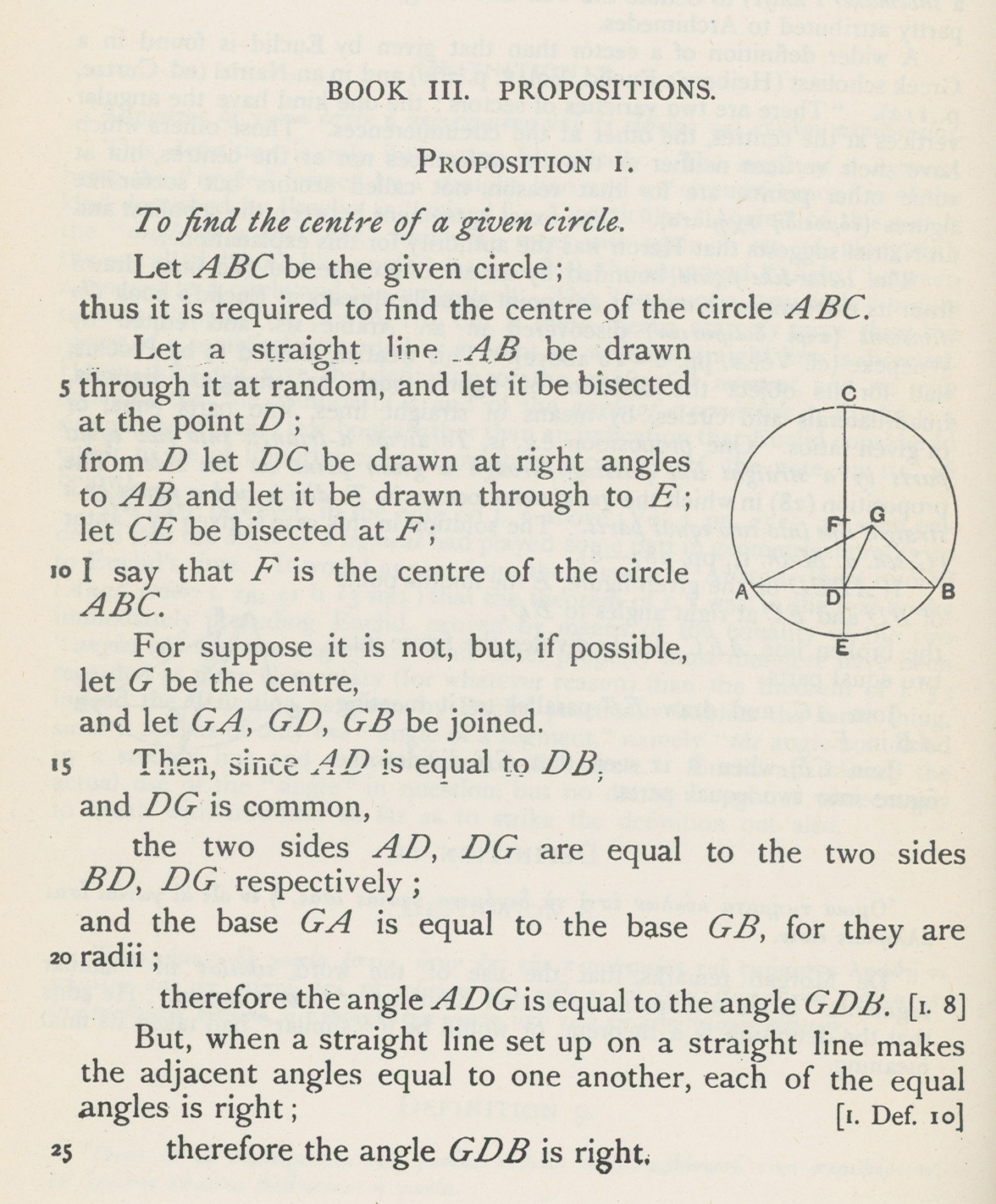 """Proposition iii.1 from Sir Thomas Heath's translation (1908) showing the same diagram as was used in the D'Orville manuscript 1,020 years earlier"""
