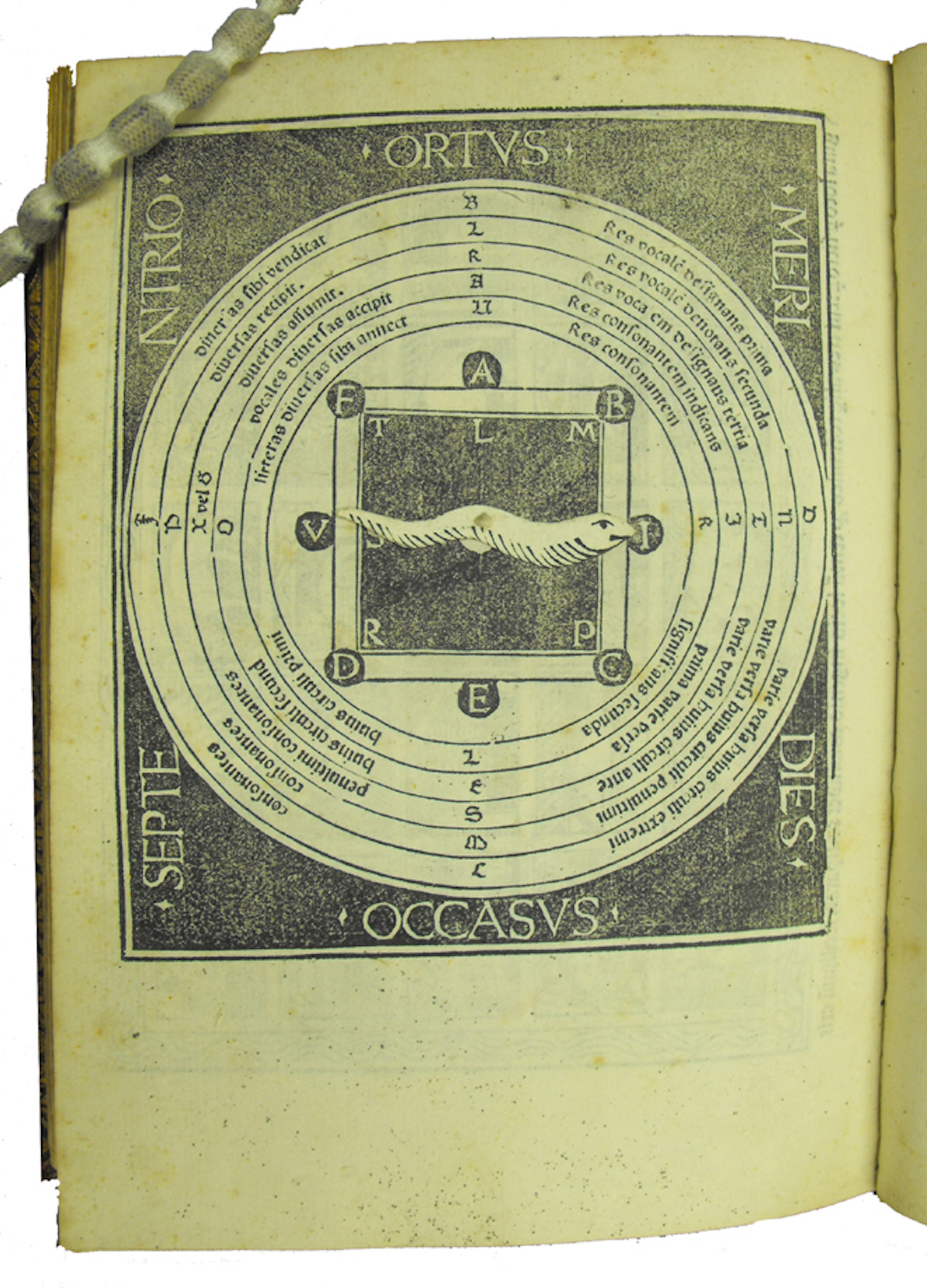 """Woodcut diagram with snake-shaped volvelle."""