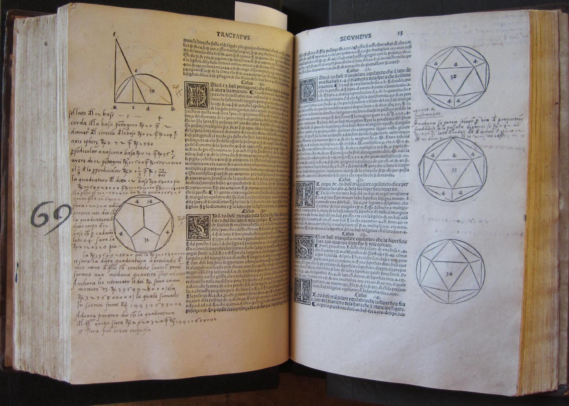 """""""Folios 12v and 13r of the Bodleian copy of De Divina Proportione (BOD, Arch. B d.24)"""""""