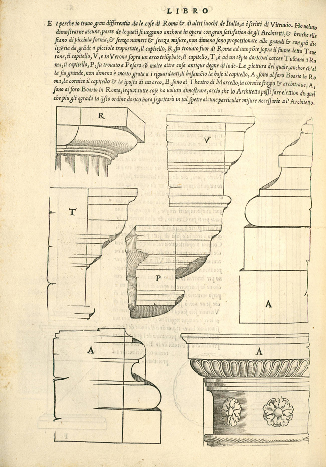 """""""Fig. 6. Sebastiano Serlio, Regole generali di architettura sopra le cinque maniere de gli edifici… (Venice: Francesco Marcolini, 1537), p. 21v"""""""