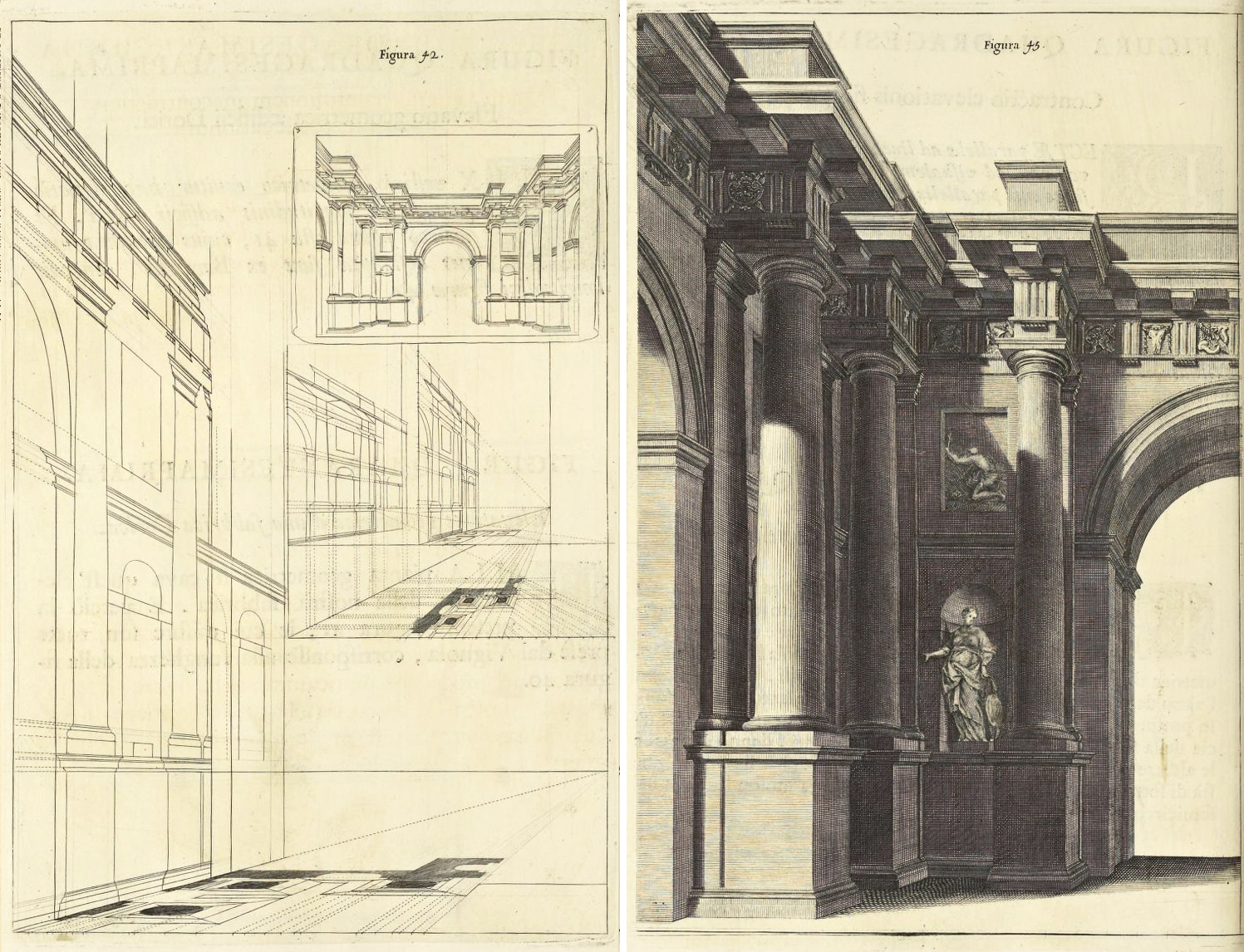 """Andrea Pozzo, Perspectiva Pictorum et Architectorum, vol. I (Rome, 1693), Figures 42 and 45. Getty Research Institute"""