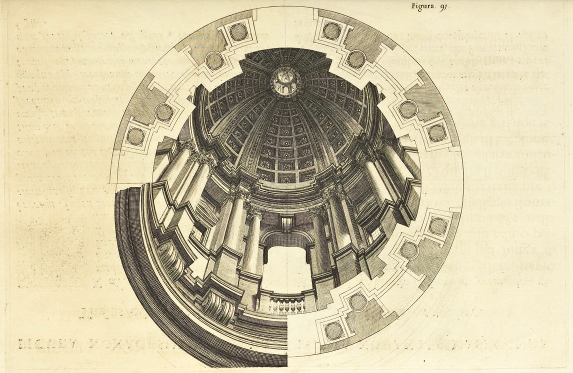 """Andrea Pozzo, Perspectiva Pictorum et Architectorum, vol. I (Rome, 1693), Figure 91. Getty Research Institute"""