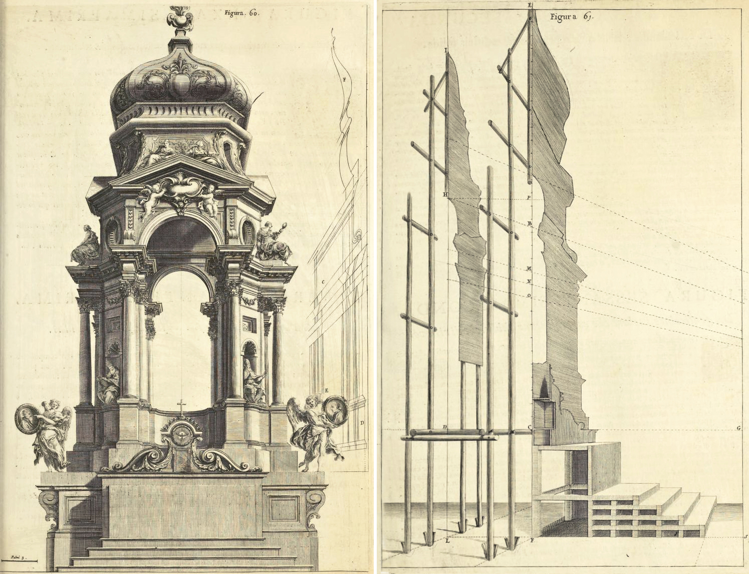 """Andrea Pozzo, Perspectiva Pictorum et Architectorum, vol. I (Rome, 1693), Figures 60 and 61. Getty Research Institute"""