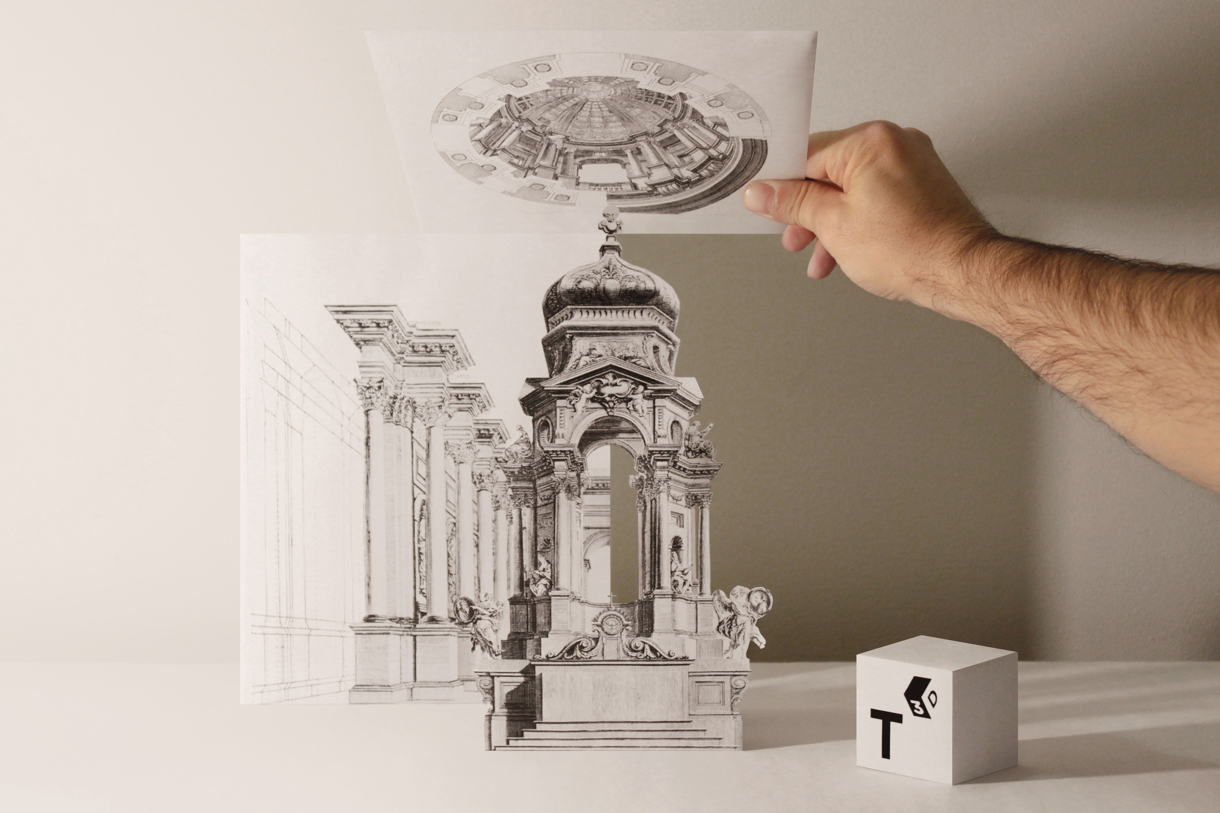 """Reconstruction of Pozzo's illusionistic altar (figures 60-61), architectural perspective (figure 76) and dome (figure 91)"""