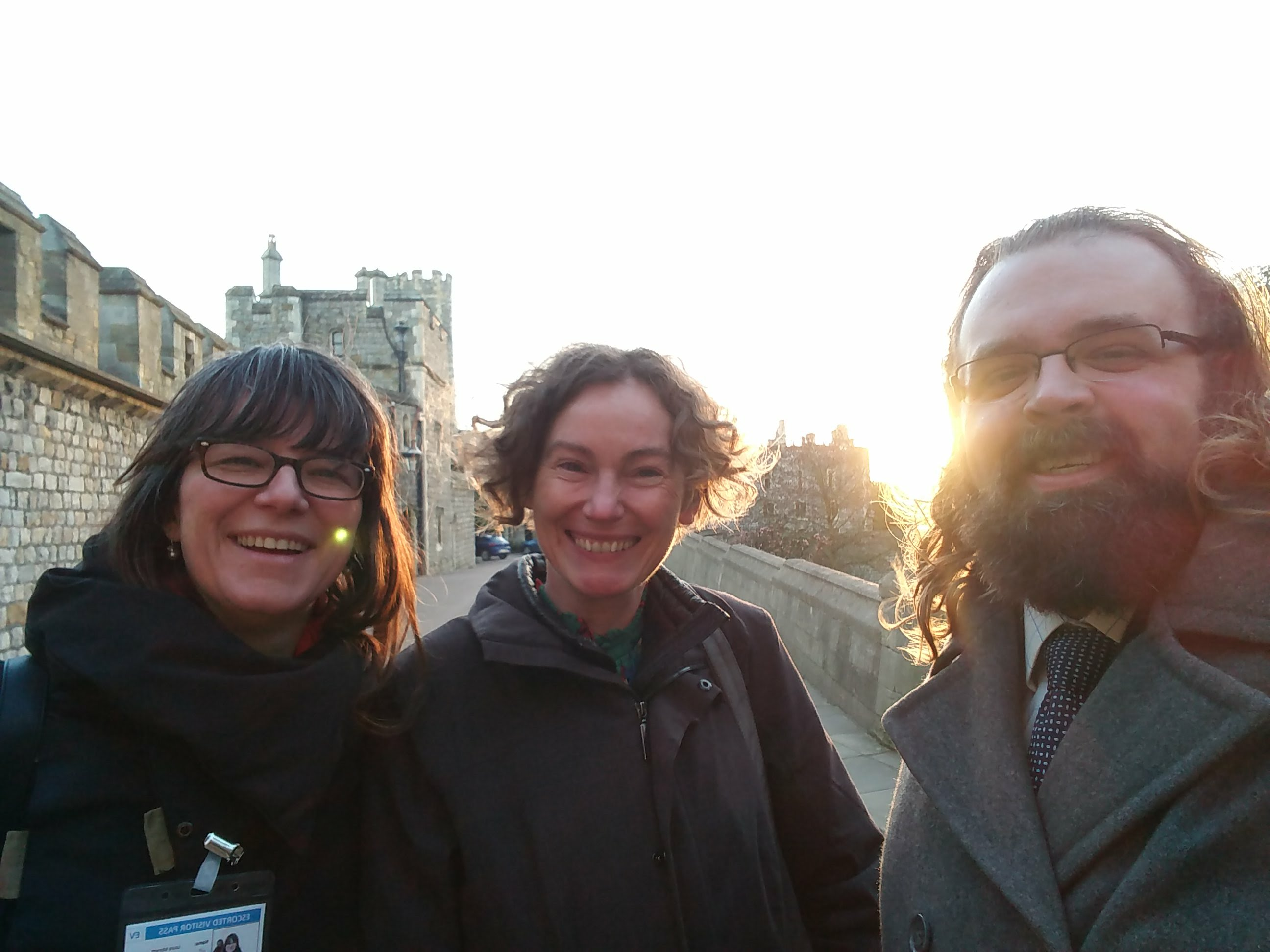 """Laura, Maddy, and Daryl at Windsor Castle, clearly very happy!"""