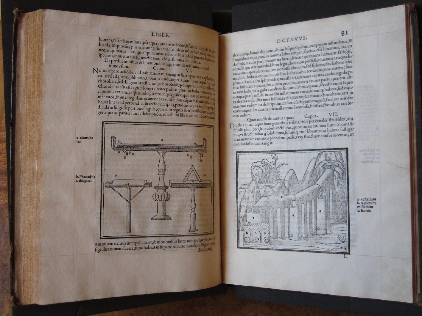 """""""M. Vitruvius per Iocundum solito castigatior factus cum figuris et tabula ut iam legi et intelligi possit (Venice, 1511), ff. 80v-81r."""""""