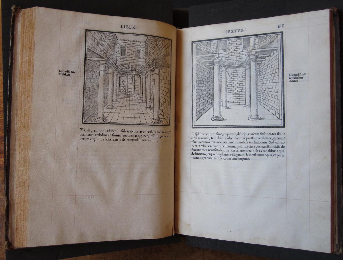 """""""M. Vitruvius per Iocundum solito castigatior factus cum figuris et tabula ut iam legi et intelligi possit (Venice, 1511), ff. 60v-61r."""""""