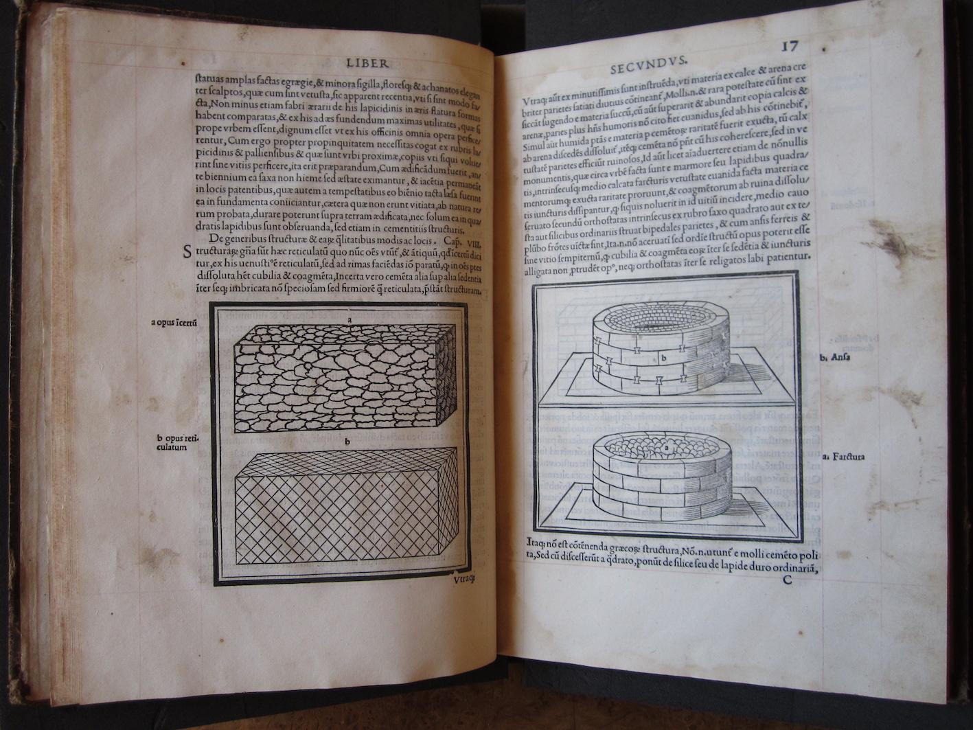 """""""M. Vitruvius per Iocundum solito castigatior factus cum figuris et tabula ut iam legi et intelligi possit (Venice, 1511), ff. 16v-17r."""""""