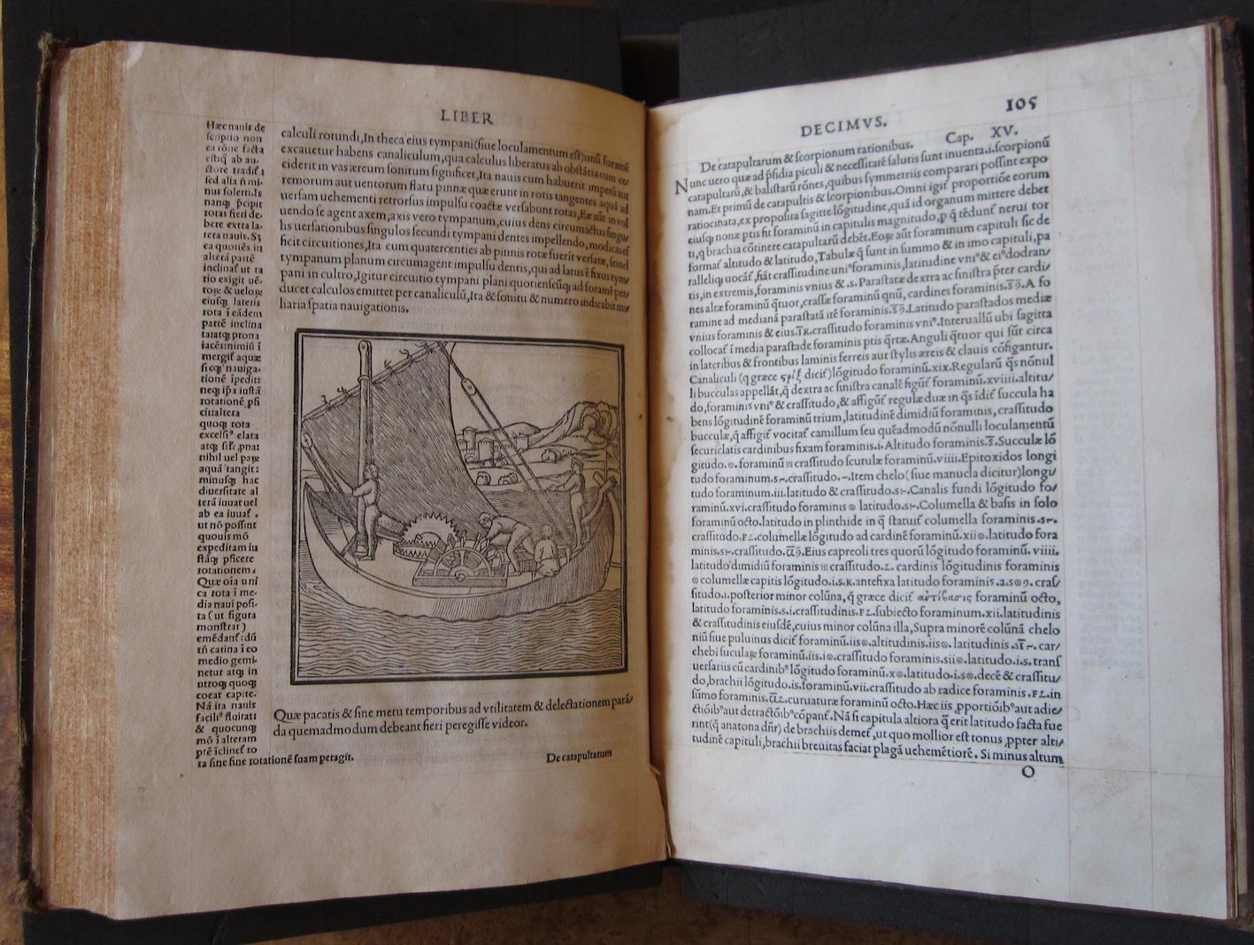 """""""M. Vitruvius per Iocundum solito castigatior factus cum figuris et tabula ut iam legi et intelligi possit (Venice, 1511), ff. 104v-105r."""""""