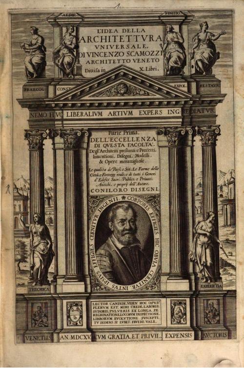 """""""Vincenzo Scamozzi, *L'idea della architettura universale* (Venice, 1615), vol. I. Titlepage."""""""