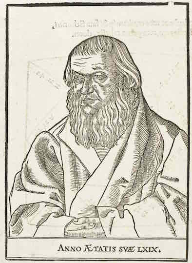 """""""Portrait of Johannes Schöner, from Johannes Schöner, Opera mathematica (Nurnberg: in officina Ioannis Montani & Ulrici Neuber, 1551)"""""""