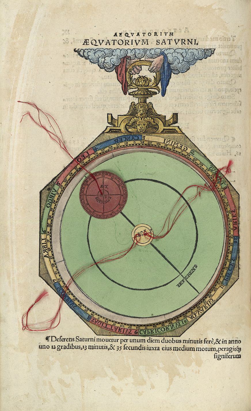 """Johannes Schöner, Opera mathematica (Nurnberg: in officina Ioannis Montani & Ulrici Neuber, 1551), c. 9v of the Aequatorium Astronomicum. Volvelle representing the deferent and the epicycle of Saturn."""