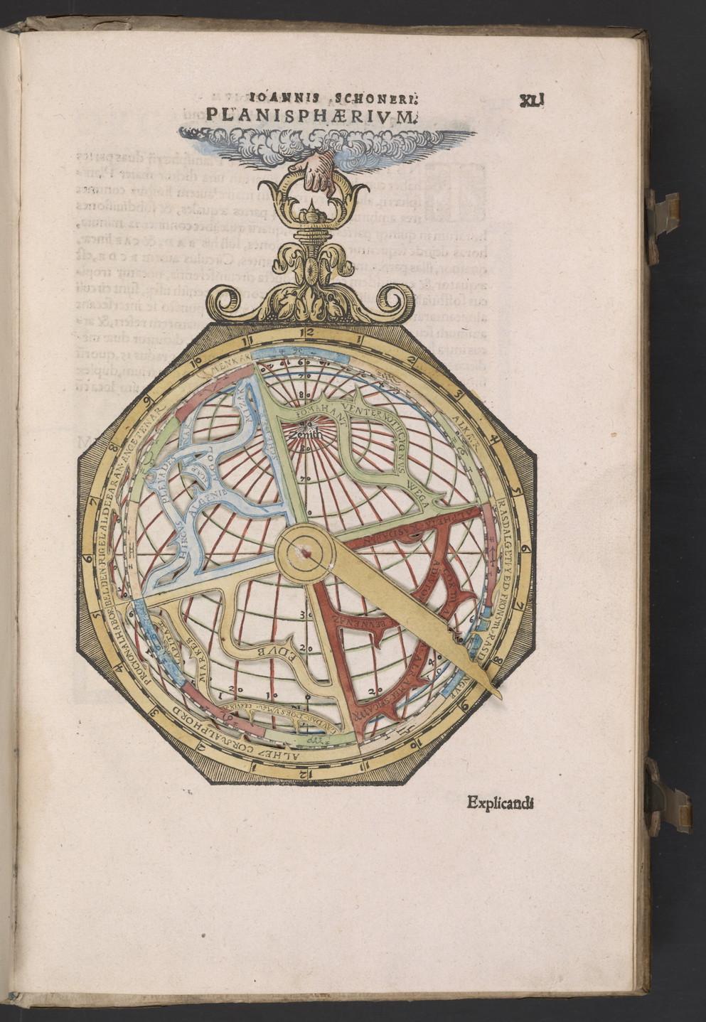 """Johannes Schöner, Opera mathematica (Nurnberg: in officina Ioannis Montani & Ulrici Neuber, 1551), c. 41r of the Planisphaerium, seu Metheoroscopium. Paper astrolabe."""