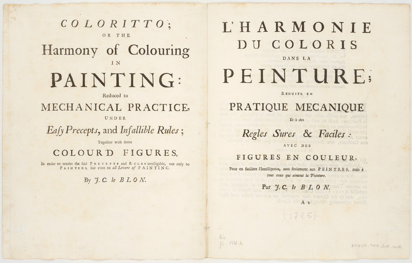 """Opening with English and French titlepages of Le Blon's Coloritto, London 1725; Bibliothèque nationale de France, département Estampes et photographie, RESERVE 4-YC-1332."""