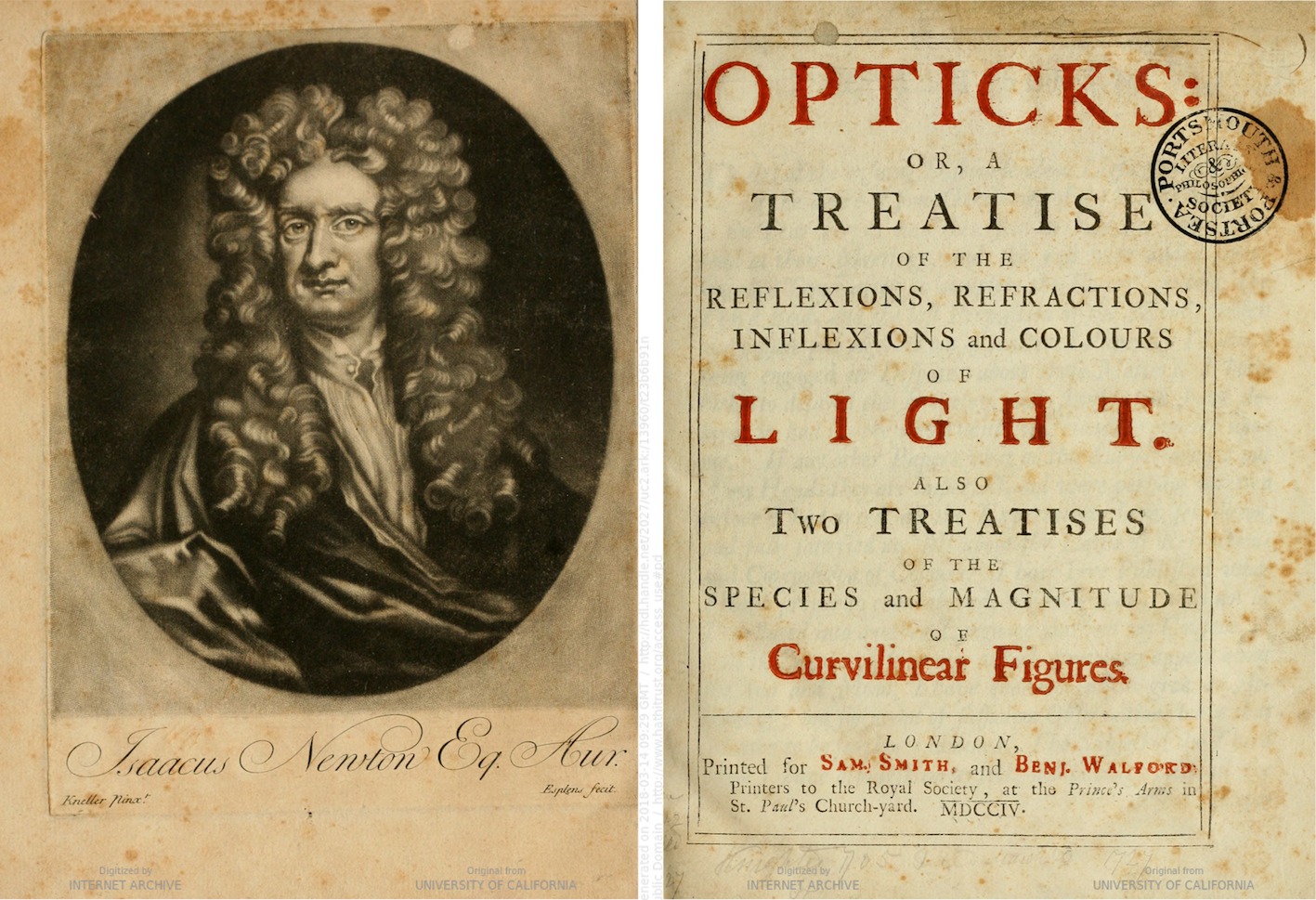 """Isaac Newton, Opticks, London 1704, titlepage and frontispiece."""