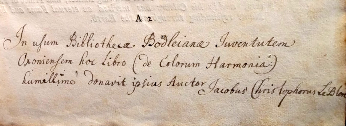 """""""Inscription by Le Blon in the copy of Coloritto kept in the Bodleian Library."""""""