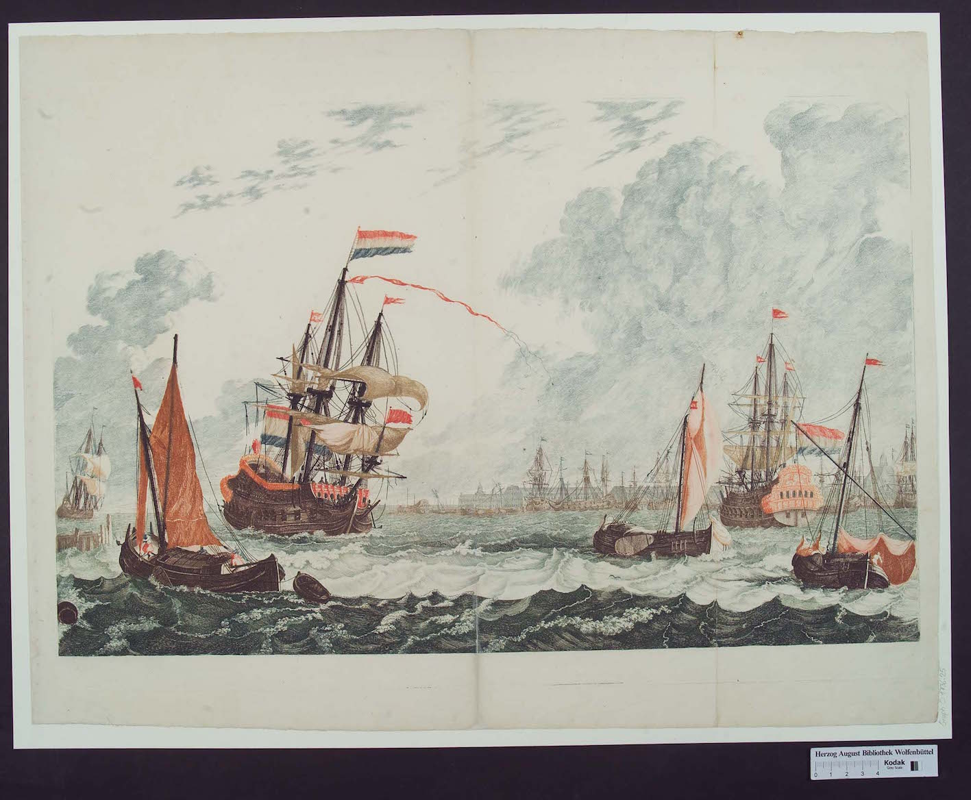 """Workshop of Johannes Teyler, Amsterdam: Ships at the IJ on Choppy Water, the East India House in the Background, line etching inked à la poupée in blue, brown, greenish blue, orange, red, yellow-brown; Herzog August Library, Graph. C: 1736.25."""