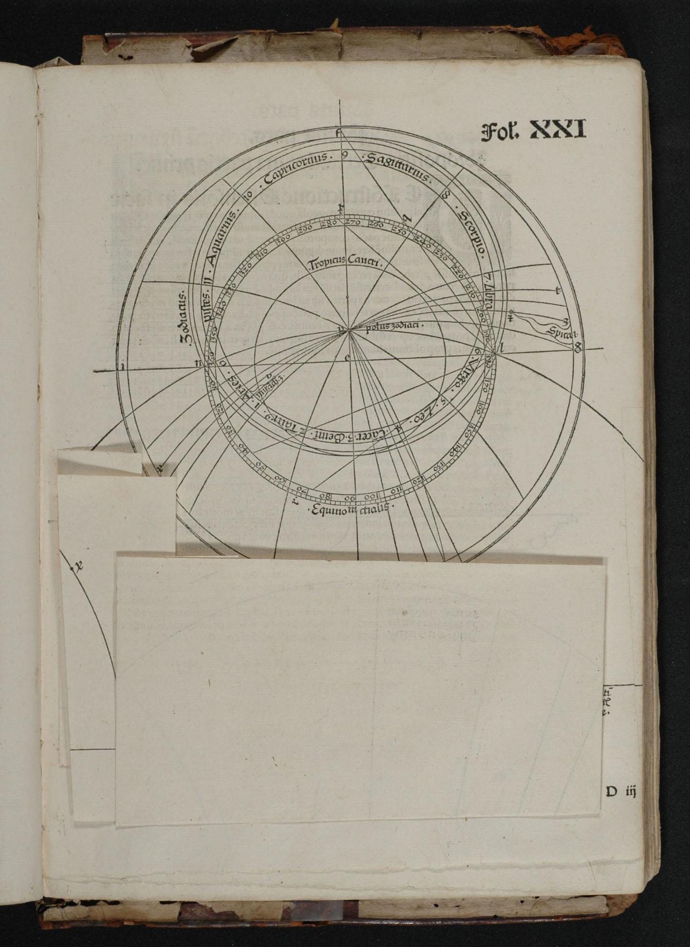"""J. Stöffler, Elucidatio, 1513, fol. 21r, folded page."""