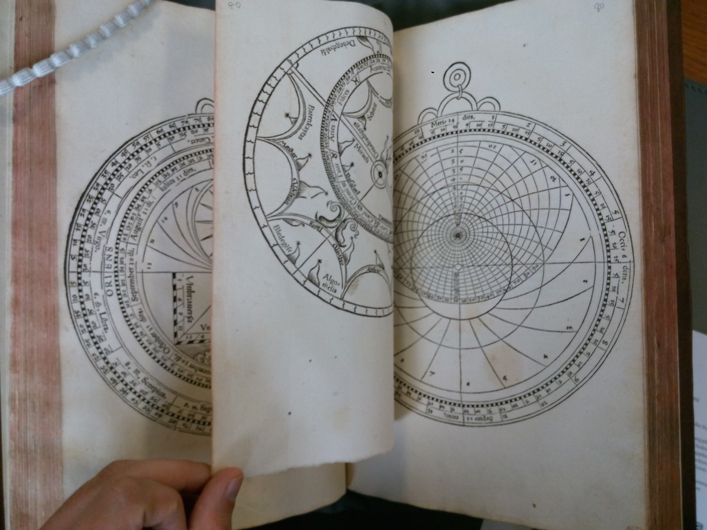 """J. Stöffler, Caelestium Rerum Disciplinae, 1535, Paper astrolabe at the end of the volume (St Andrews University Library, Rare Books Collection, Roy.PA4400.S7)."""