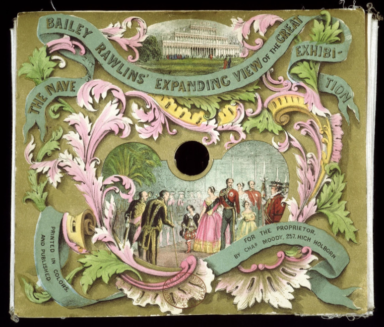 """Charles Moody and Bailey Rawlins, 'Bailey Rawlins' Expanding View of the Great Exhibition', c. 1851, 163 x 185 x 605 mm, chromolithographs and watercolours. © Victoria and Albert Museum, London."""