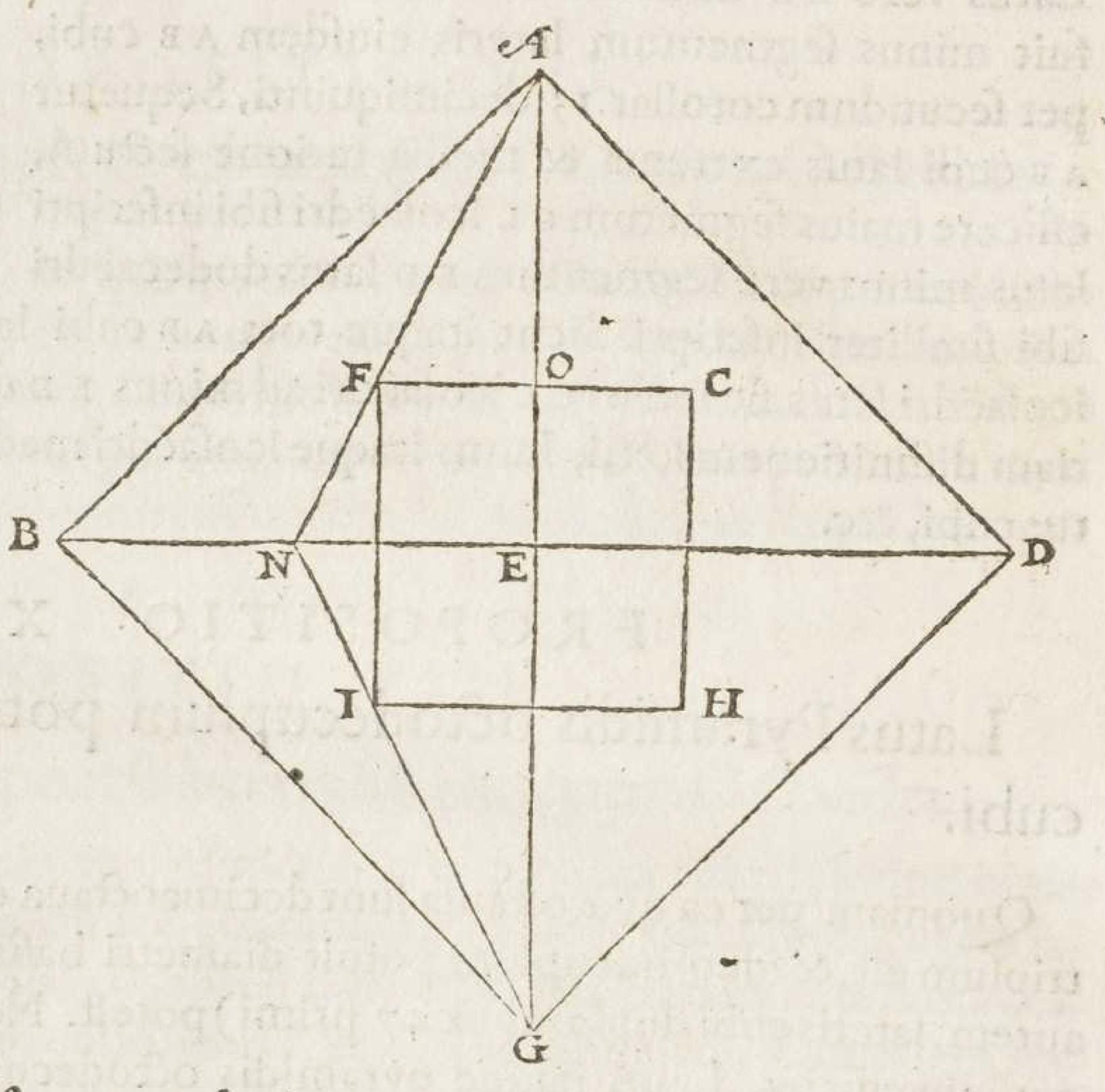 """""""TA cube in an octahedron. François de Foix-Candale, Euclidis Megarensis Mathematici Clarissimi Elementa (Paris: Jacques Du Puys, 1578), p. 478."""""""