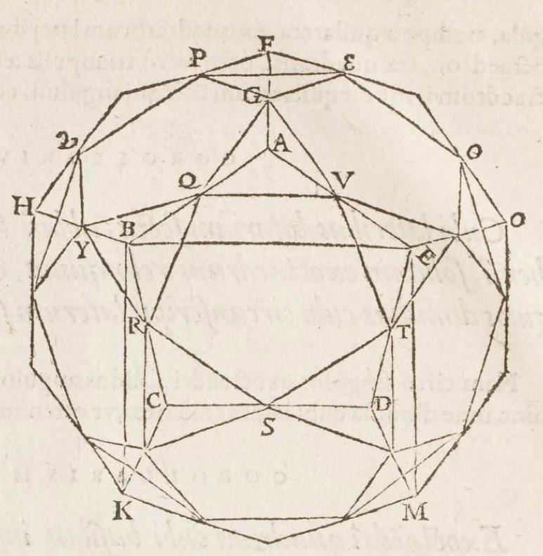 """""""The icosidodecahedron. François de Foix-Candale, Euclidis Megarensis Mathematici Clarissimi Elementa (Paris: Jacques Du Puys, 1578), p. 512."""""""
