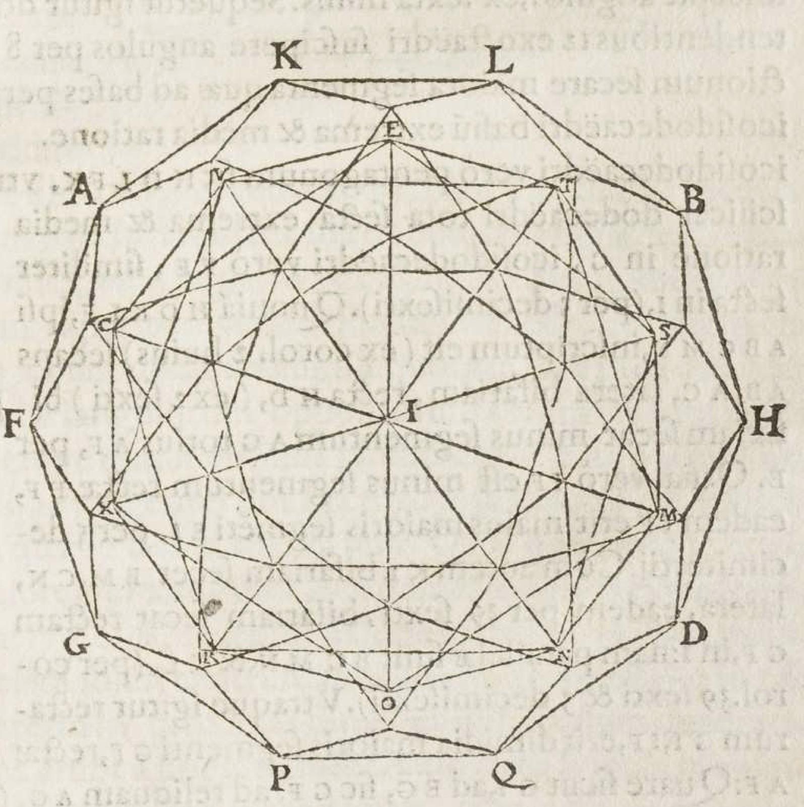 """""""An icosahedron inscribed inside an icosidodecahedron. François de Foix-Candale, Euclidis Megarensis Mathematici Clarissimi Elementa (Paris: Jacques Du Puys, 1578), p. 531."""""""