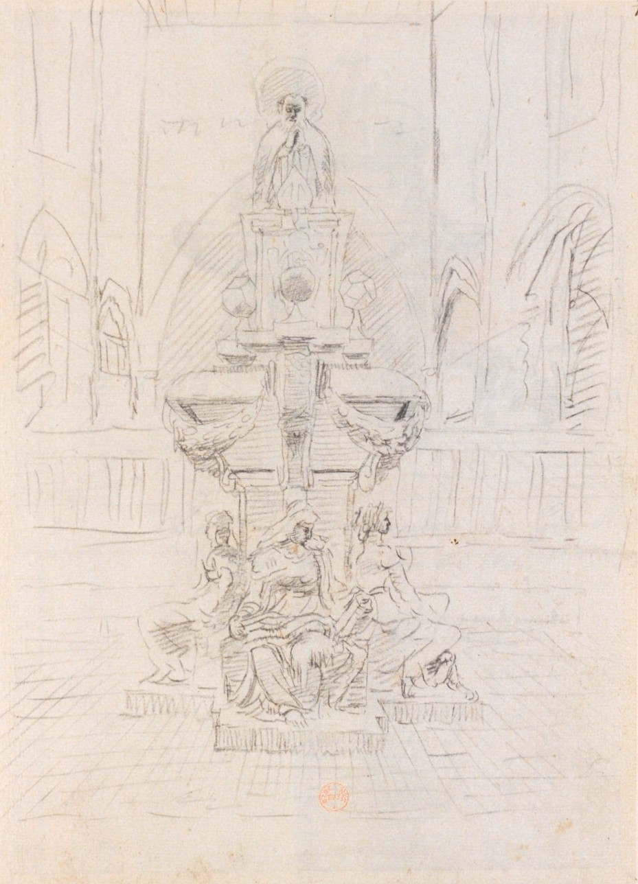 """Design for the tomb of François de Foix-Candale. Hermann Van der Hem, 1638 (Bibliothèque nationale de France, département Estampes et photographie, EST RESERVE VE-26 (N))"""