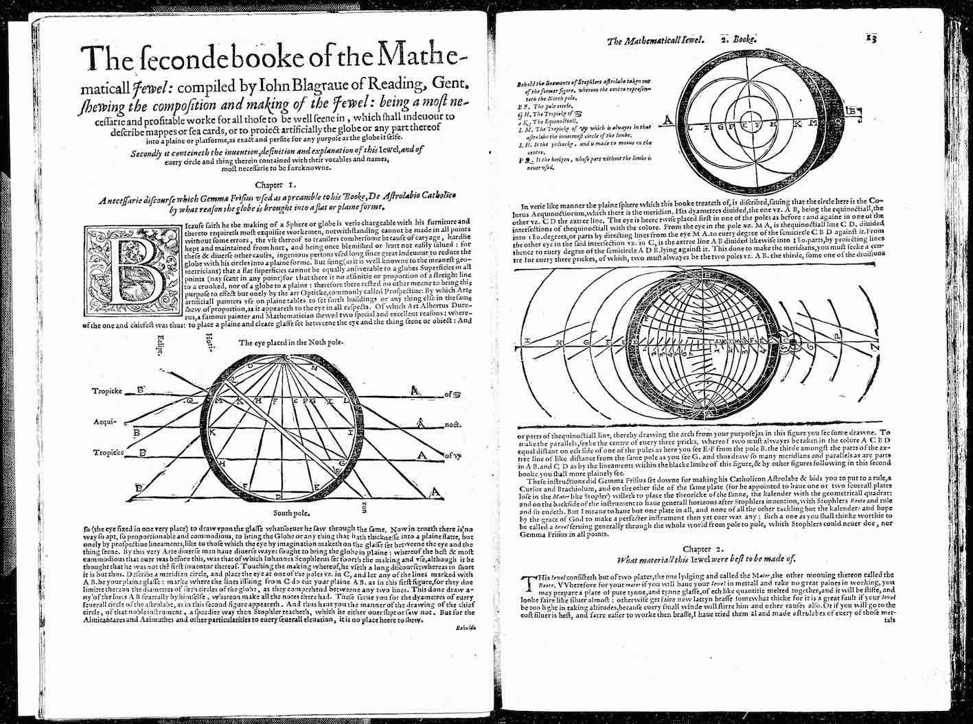 """John Blagrave, The Mathematical Jewel, 1585, B2v-B3r."""
