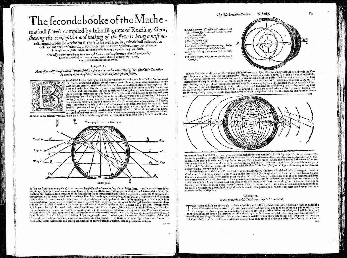 """John Blagrave, The Mathematical Jewel, 1585, B2v-B3r."""