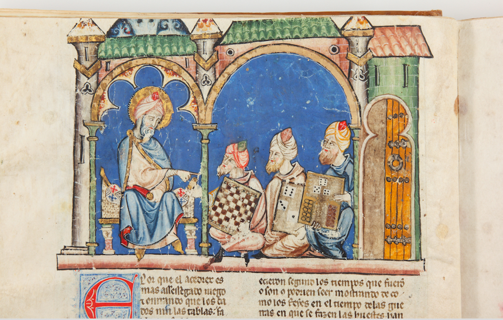 """""""Libro de los Juegos, ms.T.1.6, fol. 2v, 40 × 28 cm, Escorial Monastery Library, Madrid."""""""