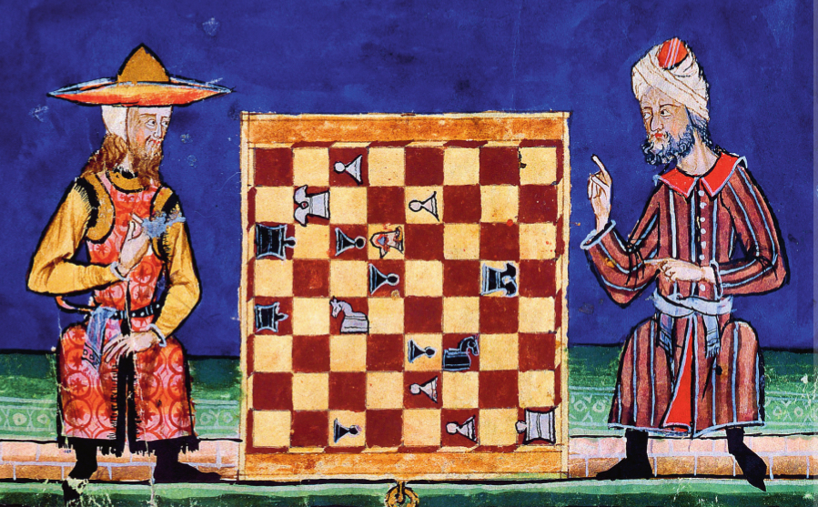 """""""Libro de los Juegos, ms.T.1.6, fol. 21v.-22r., 40 × 28 cm, Escorial Monastery Library, Madrid. (Wikimedia Commons)"""""""