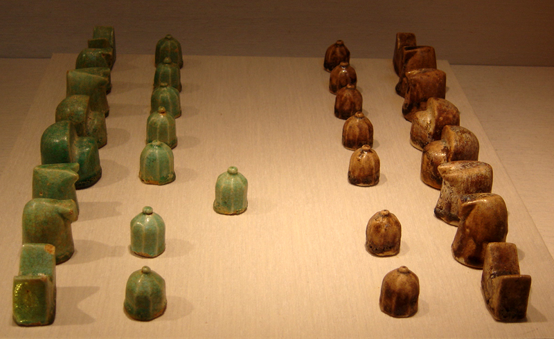 """Chess Set (*Shatranj* in Iranian), glazed fritware, 12th century. New York Metropolitan Museum of Art. (Wikimedia Commons)"""