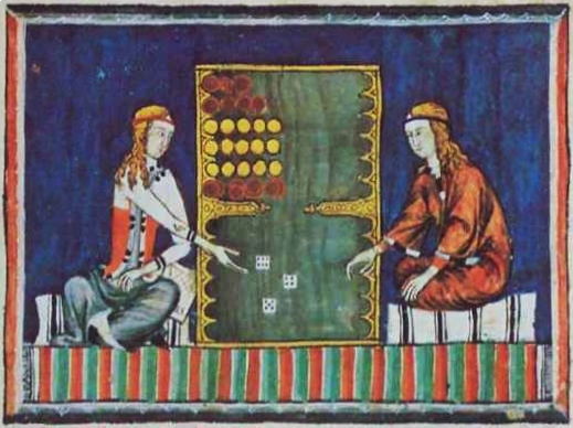 """""""Libro de los Juegos, ms.T.1.6, fol. 75v., 40 × 28 cm, Escorial Monastery Library, Madrid. (Wikimedia Commons)"""""""