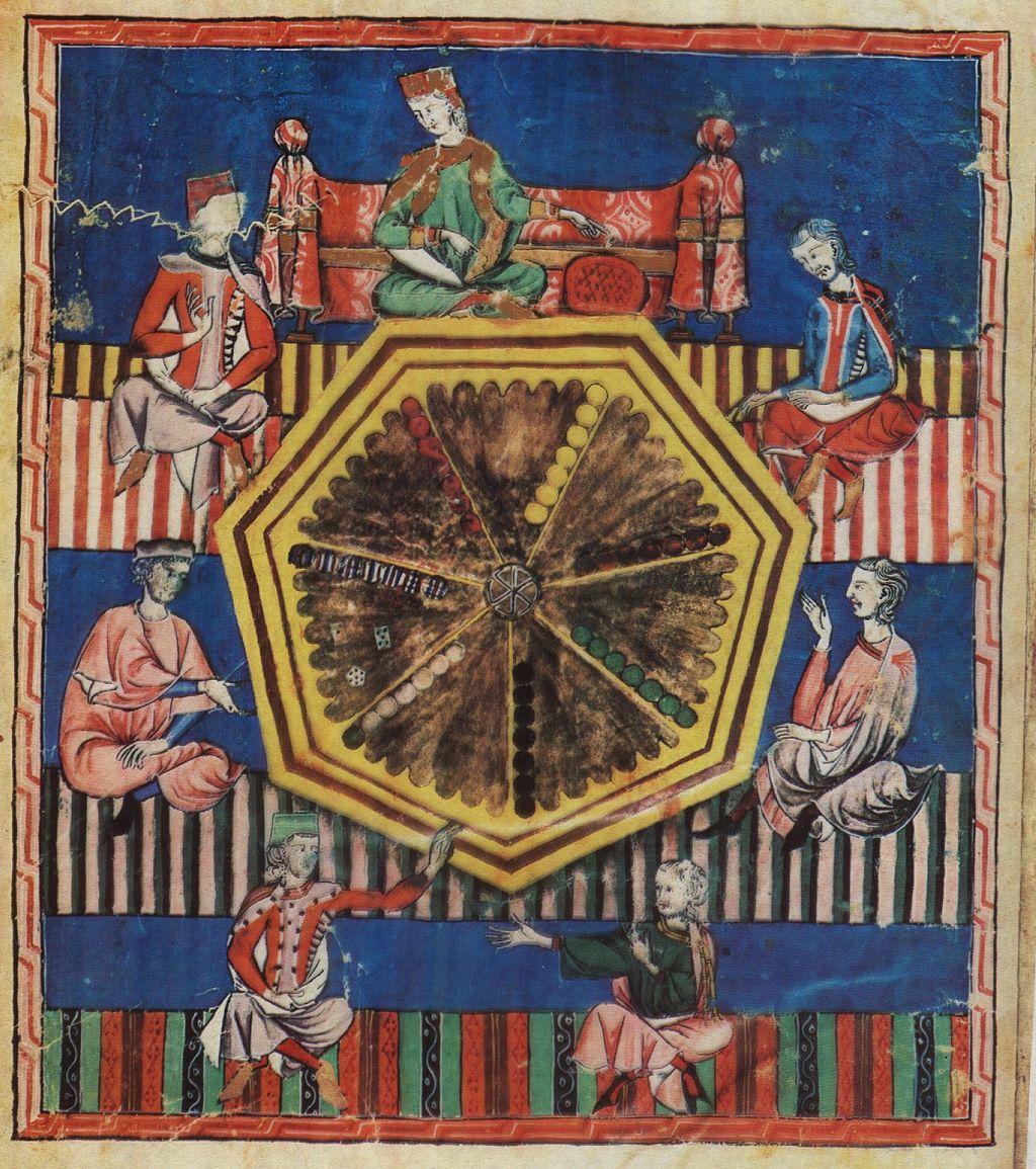 """""""Libro de los Juegos, ms.T.1.6, fol. 97v., 40 × 28 cm, Escorial Monastery Library, Madrid. (Wikimedia Commons)"""""""