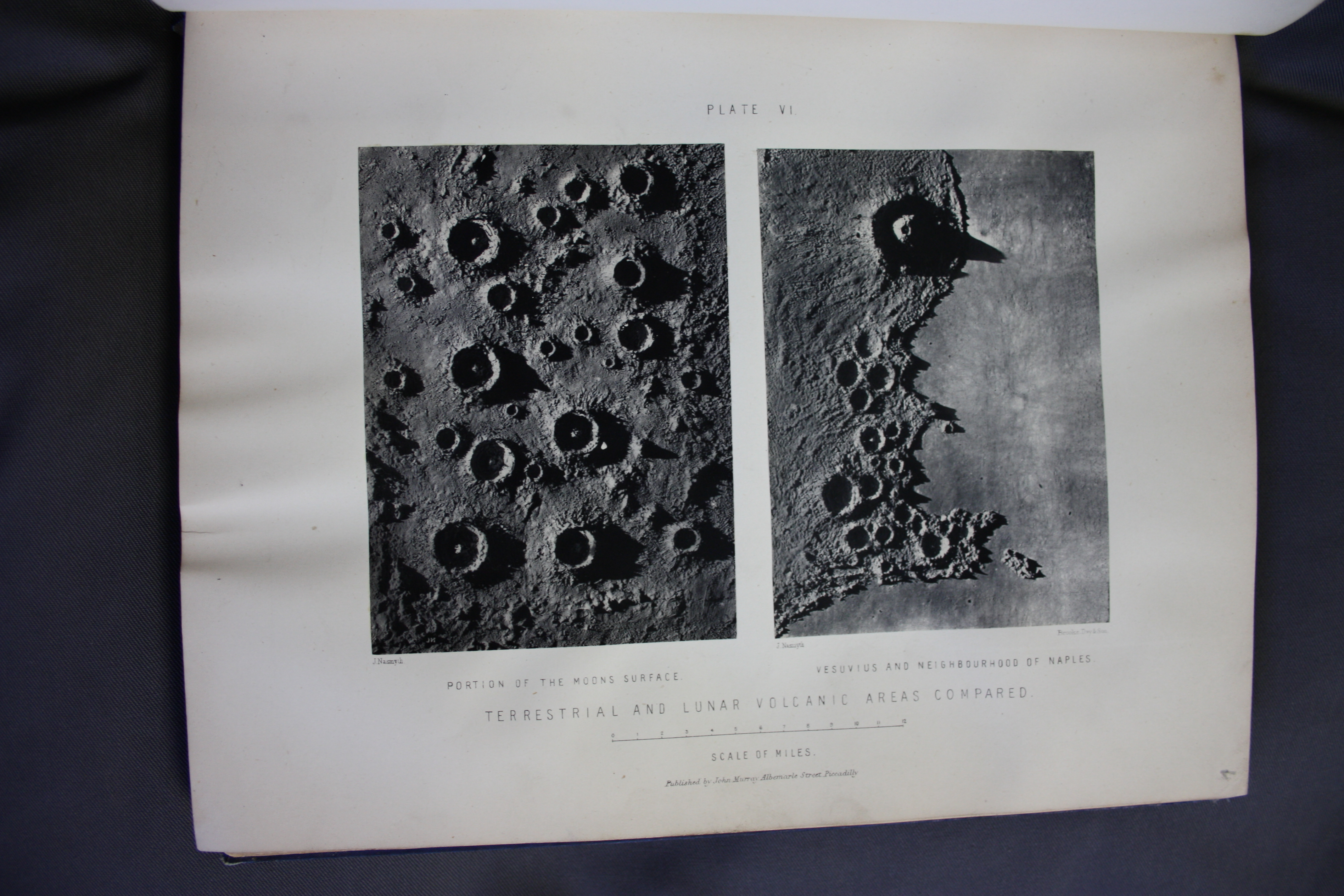 """Plate VI in James Nasmyth and James Carpenter, The Moon: Considered as a Planet, a World, and a Satellite (London: John Murray, Albemarle Street, 1874), University of St Andrews Library, Photo QB581.N2C2"""